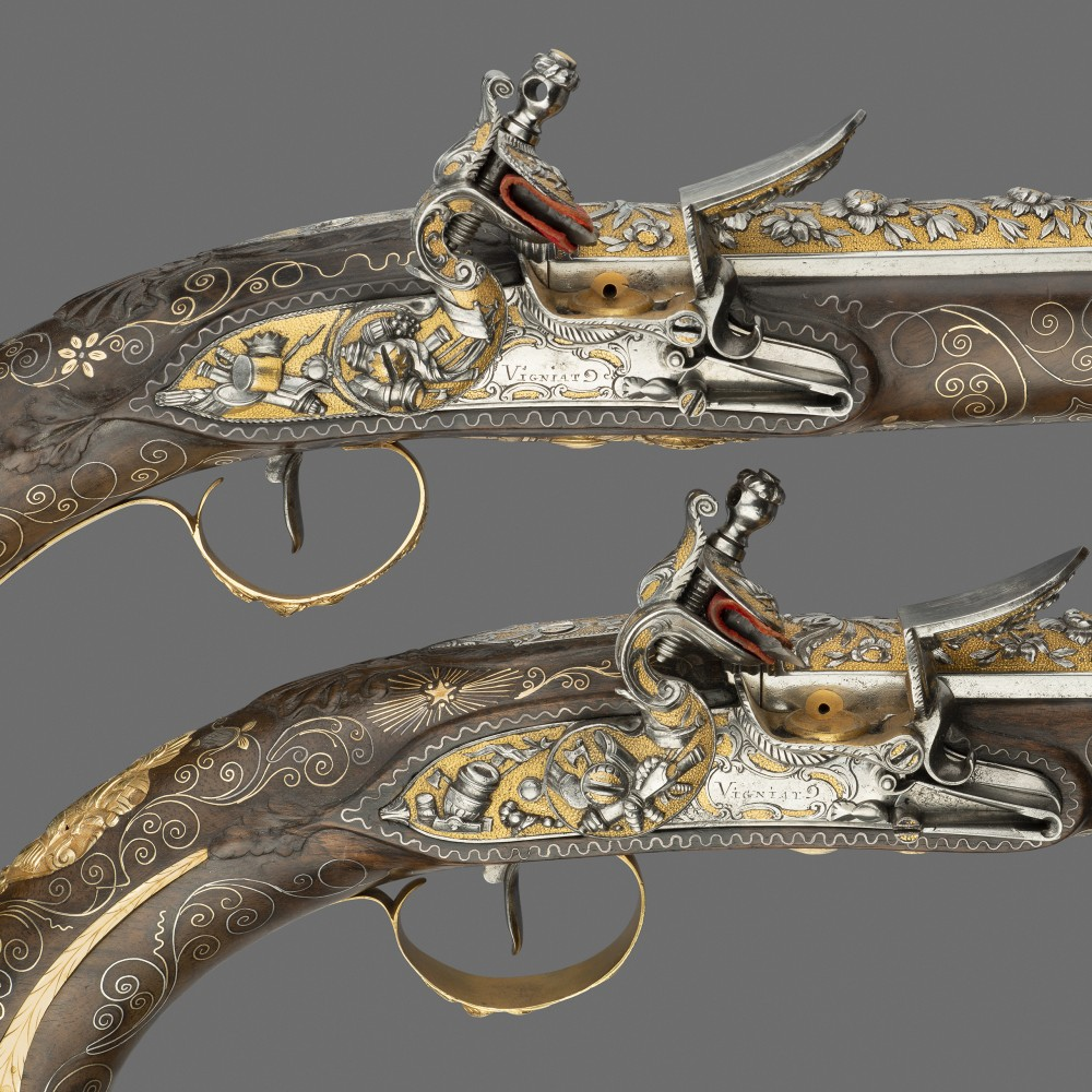 A Pair of Gold-Mounted Flintlock Holster Pistols with Chiselled and Gilt Barrels and Locks, of Presentation Quality, by Vigniat à Marseille,