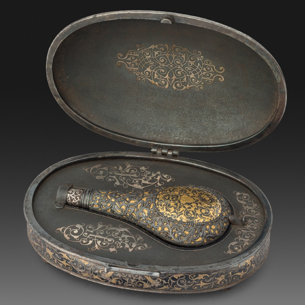 A Spanish Flask, or Sander, in its Travelling Case, by Eusebio Zuloaga, Eibar,