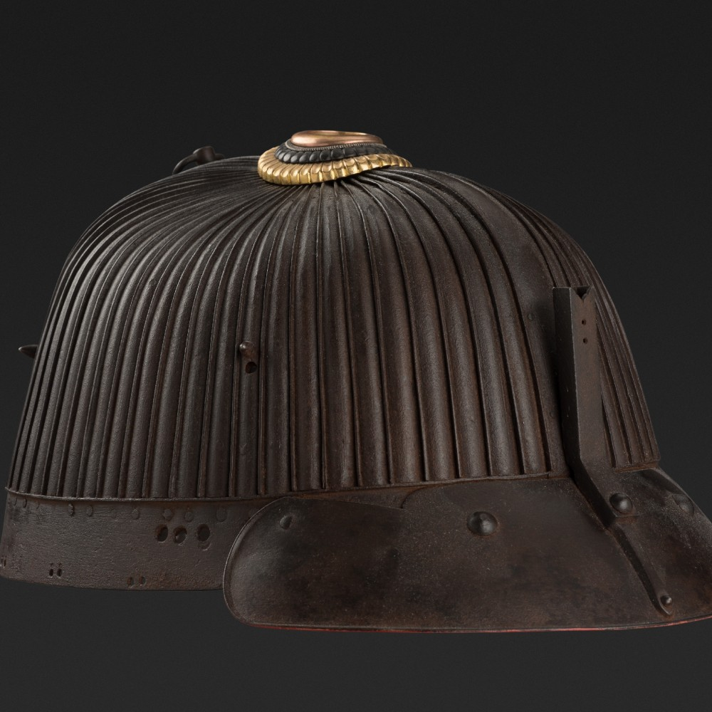 A Japanese Signed Suji Kabuto (Helmet), with Sixty-Two Russet Iron Plates, by Nobuyoshi,