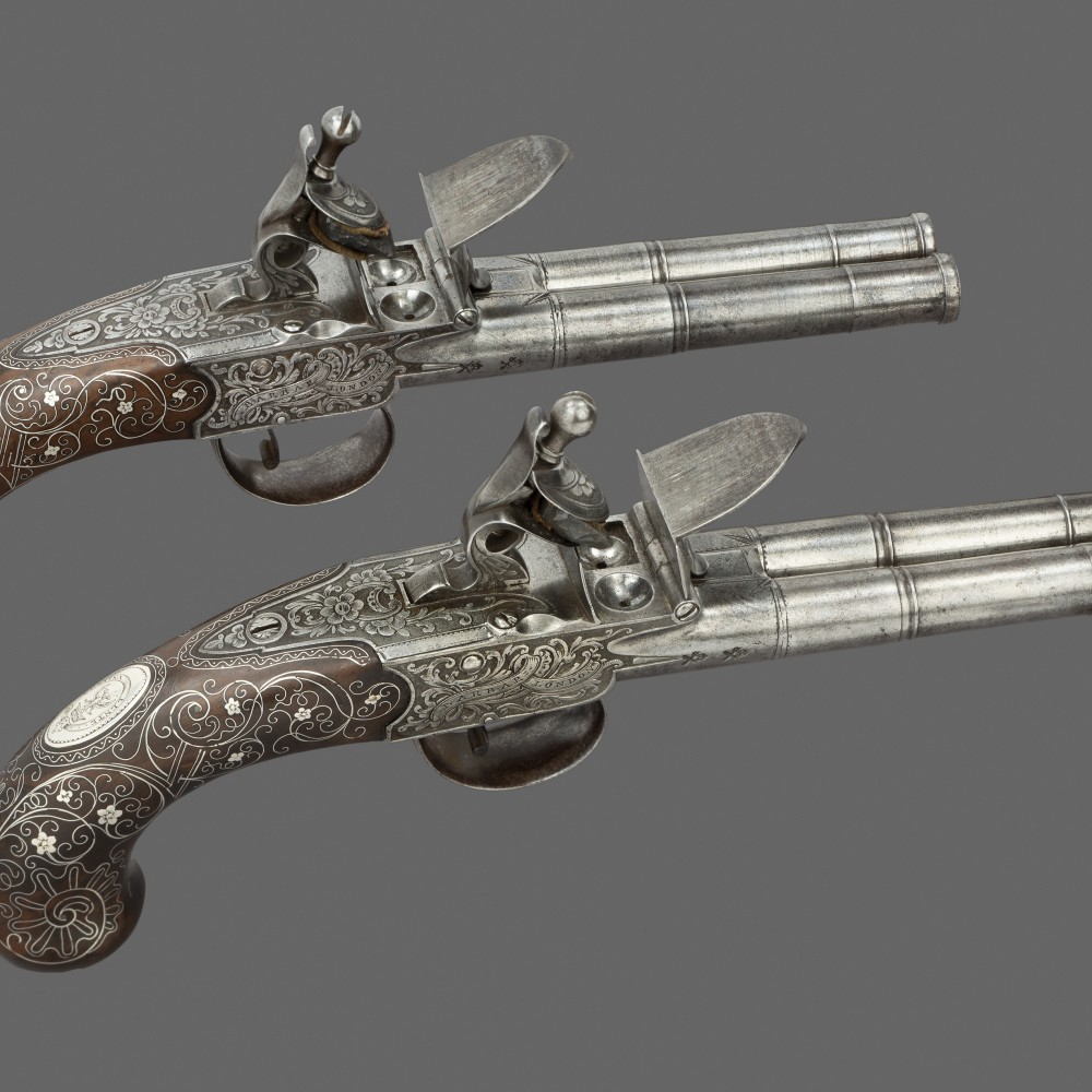 A Pair of Double-Barrelled Carriage Pistols by Barbar,