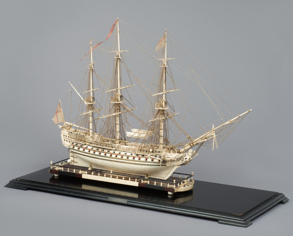 A French Prisoner-of-War Bone Ship Model of the HMS Canopus,