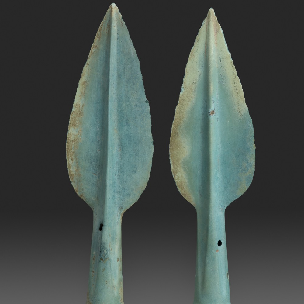 Two Bronze Age Lance Tips with a fine blue-green 'emerald' patina,