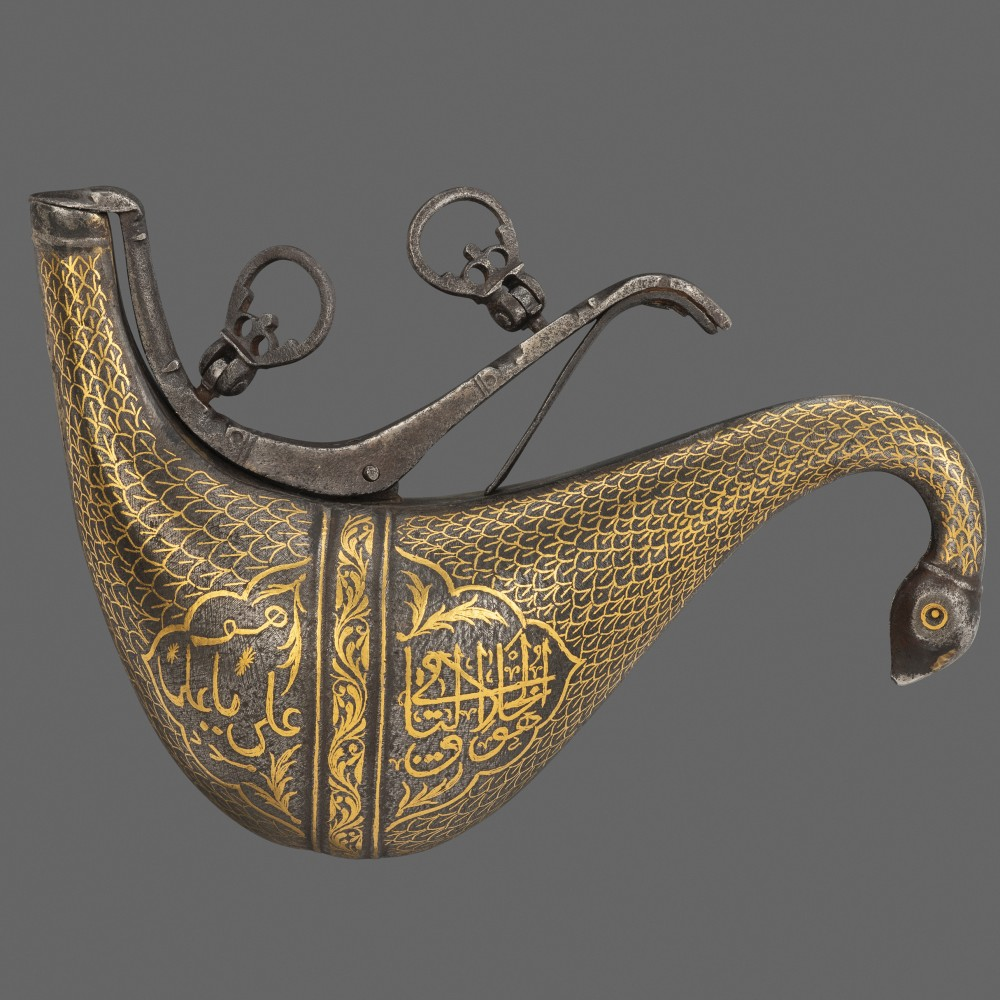 A Persian Iron Priming Flask or Barutdan,