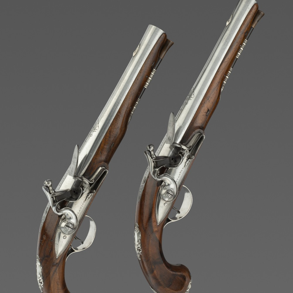 A Pair of Silver-Mounted Pistols by Jonathan Stanton, London,