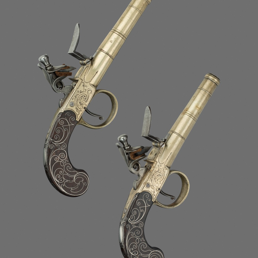 A Pair of Flintlock Turn-off Pocket Pistols by T. Archer,
