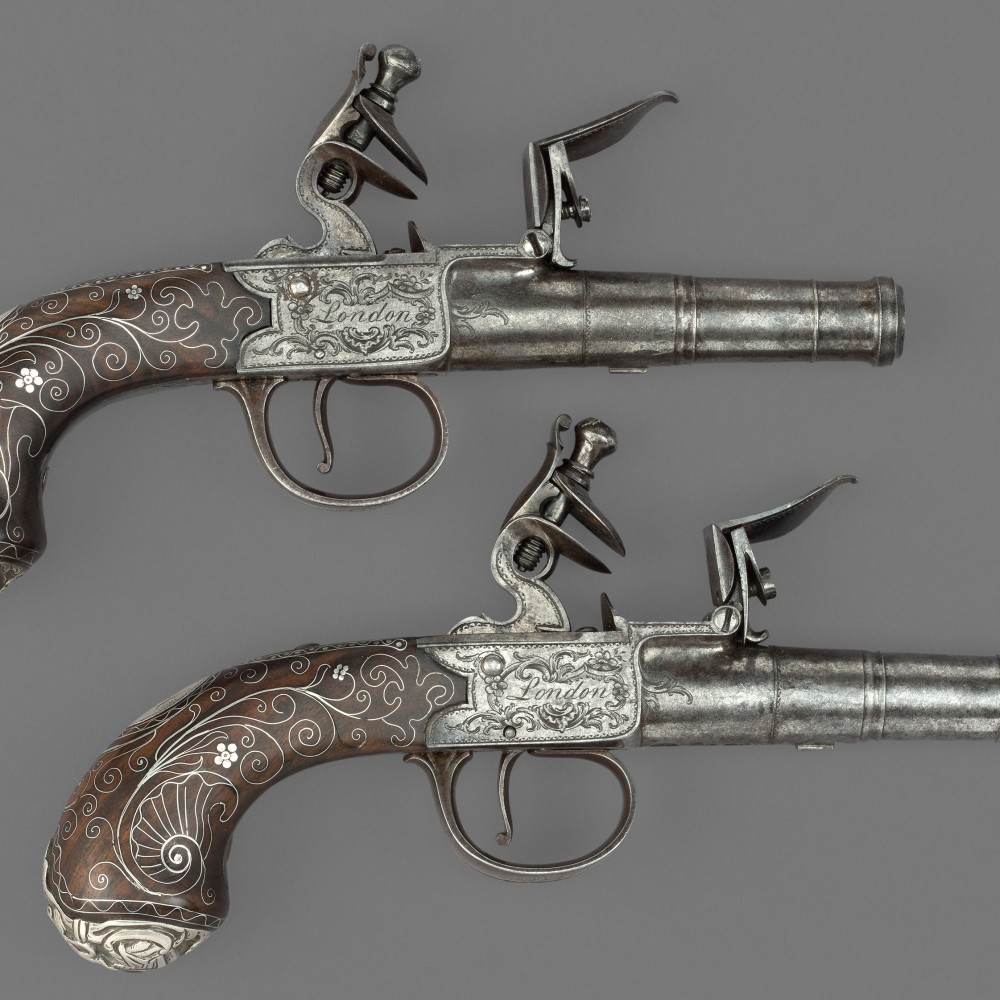 A Pair of Flintlock Turn-off Pocket Pistols by Wilson, London,