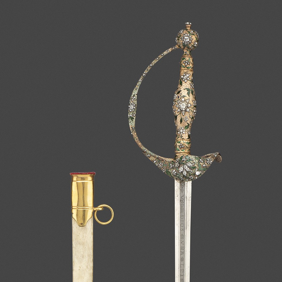 A Gold-Hilted Small-Sword Set with Diamonds and Enamels, with its Scabbard, Presented in 1762 by Generalfeldmarschall Prince Ferdinand Duke of Brunswick-Wolfenbüttel to Lieutenant-General Sir George Howard,