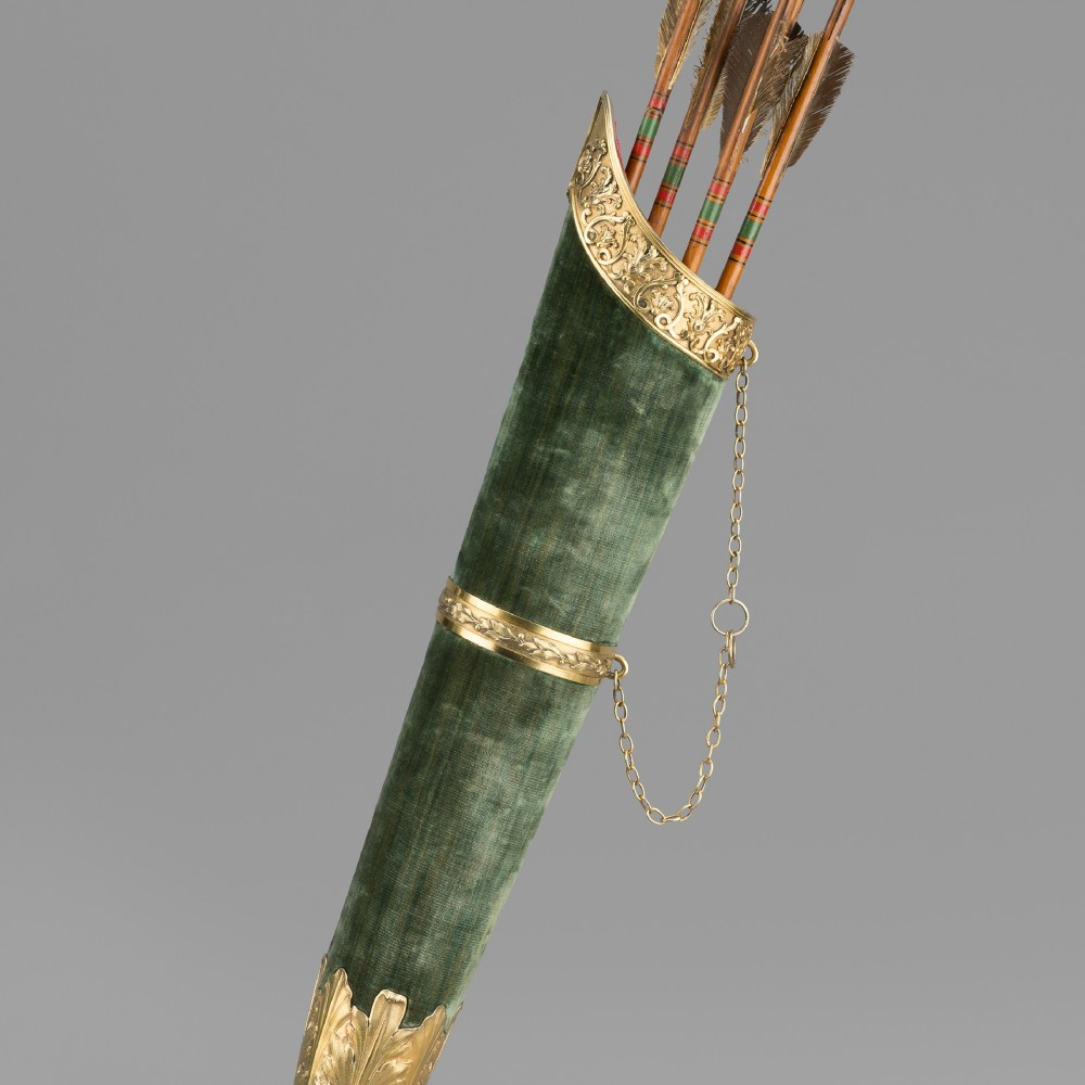A Georgian Presentation Archers' Quiver Mounted in Silver-gilt,