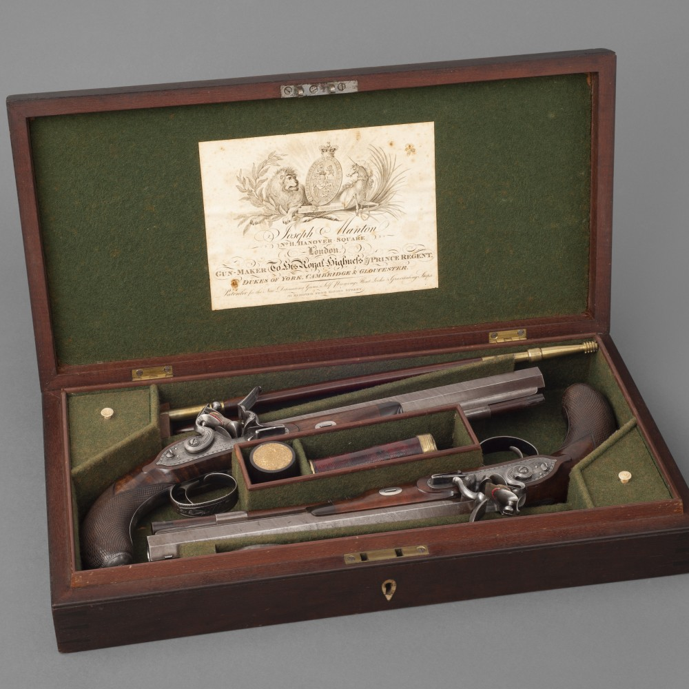 A Fine Cased Pair of English Flintlock Duelling Pistols by Joseph Manton, London,
