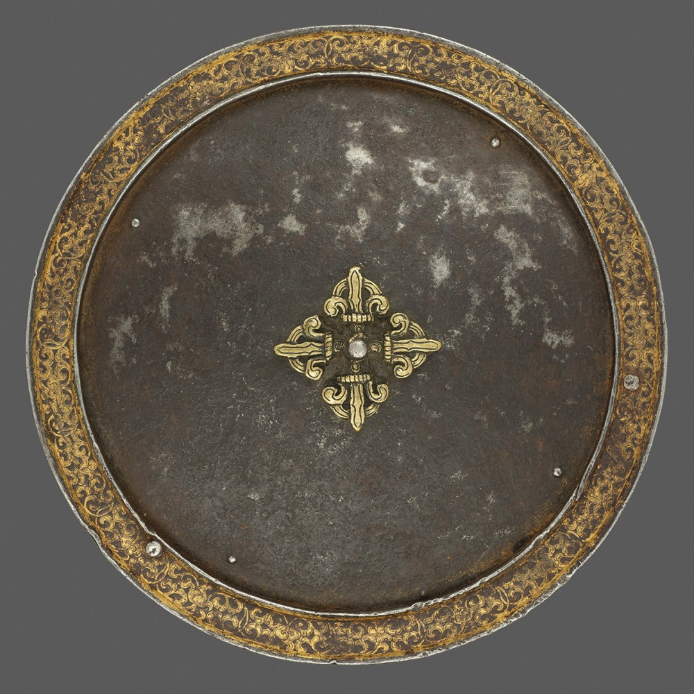 A Tibetan or Bhutanese Plate from a 'Four Mirrors' Cuirass, or Chahar A'ineh,