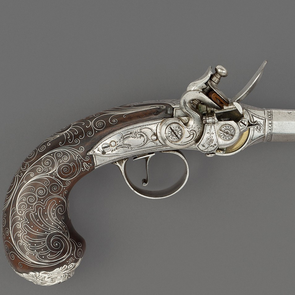 A Lorenzoni System Flintlock Magazine Repeating Pistol, Likely Birmingham, 1785