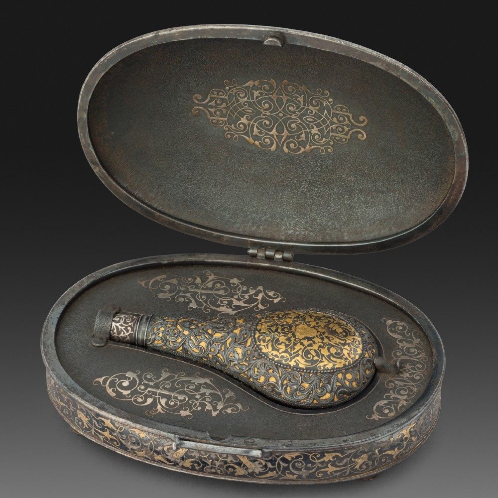 A Spanish Flask, or Sander, in its Travelling Case, Likely by Eusebio Zuloaga, Eibar,