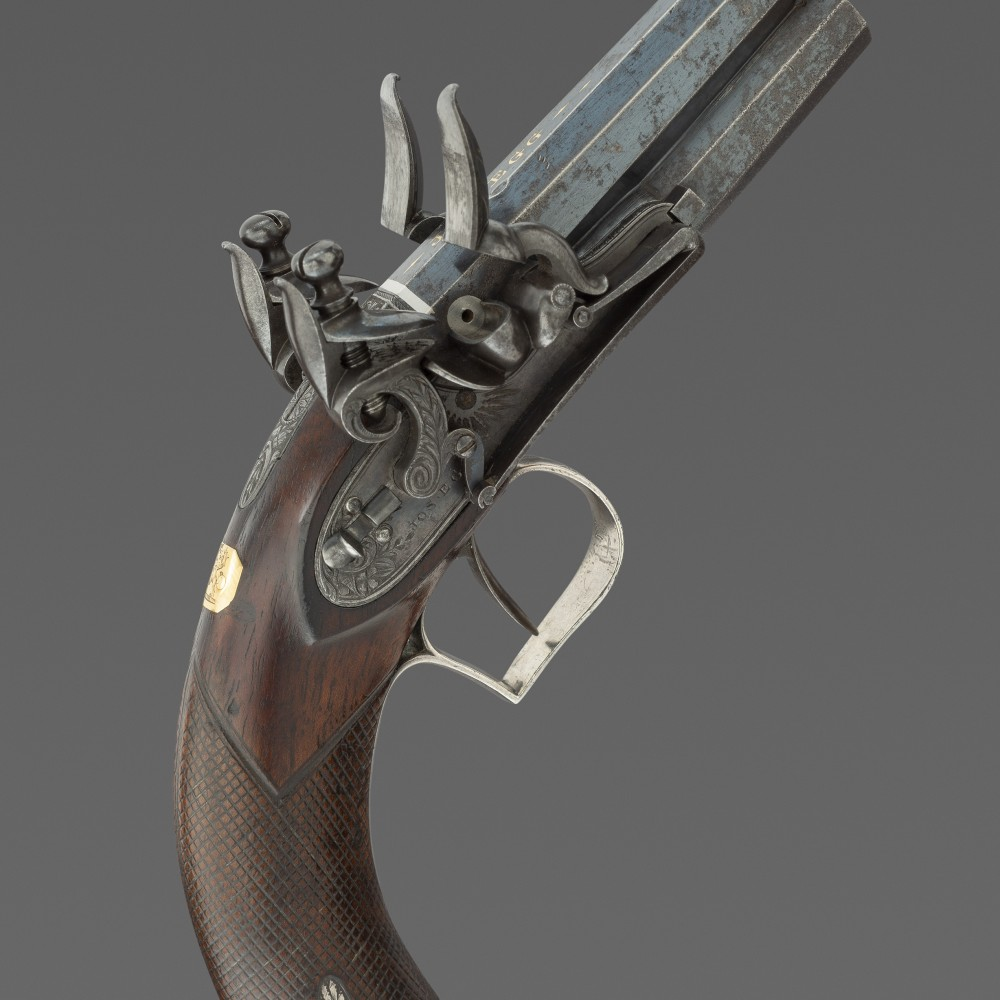 A Double-Barrelled Over-and-Under Flintlock Pocket Pistol with the Crest of Sir William Dalling, by Joseph Egg, London,