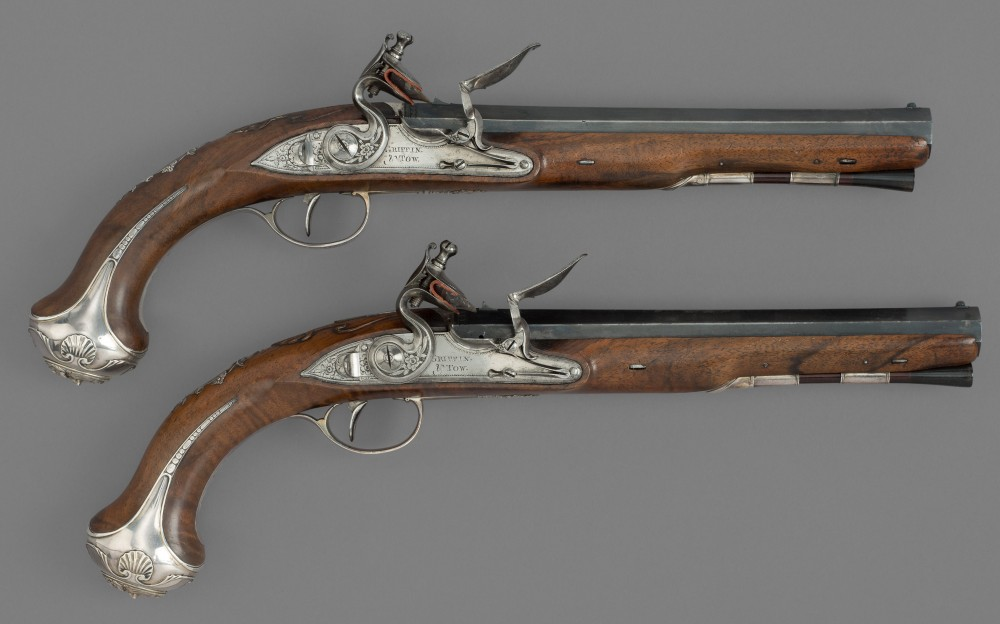 A Pair of Silver-Mounted Flintlock Duelling Pistols by Griffin & Tow, London,