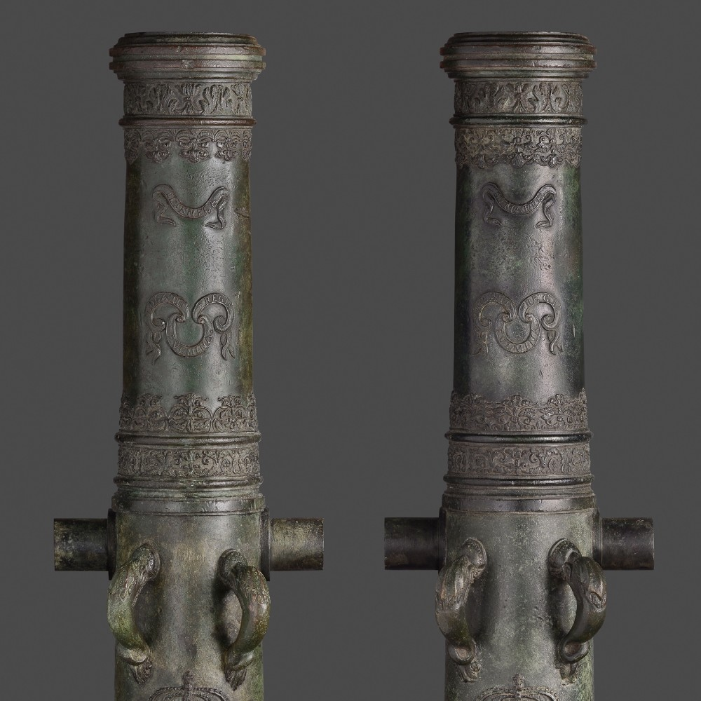 An Historic Pair of Bronze Cannon, Cast by the Spanish Gunfounder Mathias Solano, and Given by King George III of England to Major General John Graves Simcoe in 1798,