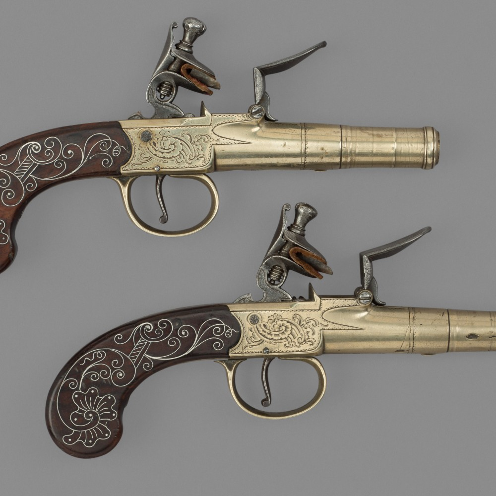 A Pair of Flintlock Turn-off Pocket Pistols by R. Allen, Birmingham,
