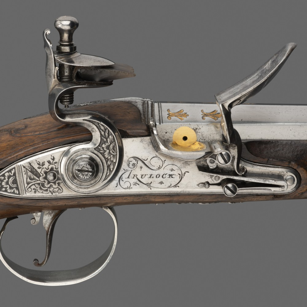 A Pair of Silver-mounted Flintlock Pistols, by Thomas Trulock, Dublin, Hallmarked for